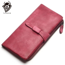 TAUREN Wallet New Vintage Solid Color Women Genuine Leather Brand Purse Long Coin Money Bag
