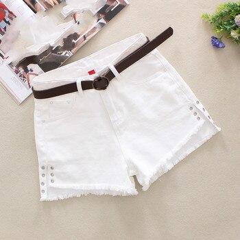 1fe8359c858 2019 для женщин белый джинсовые шорты повседневное Высокая Талия Короткие  джинсы для рваные кисточкой пикантные