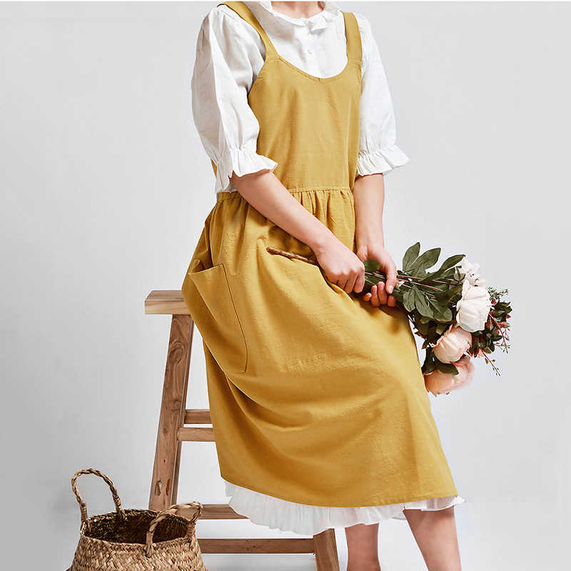 2d8ab9f9ea Women s Cotton Linen Apron Sleeveless Pinafore Dress Home Cooking Florist  Cafe