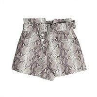 Print Snake PU Leather Women's Shorts High Waist With Sashes Shorts Female Fashion Vintage Summer 2018 Large Sizes Fashion Q841