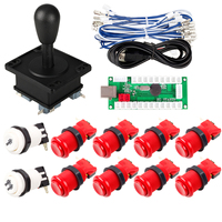 Arcade Buttons DIY Kit Zero Delay USB Encoder PC to Joystick 1x American Type Stick 10x