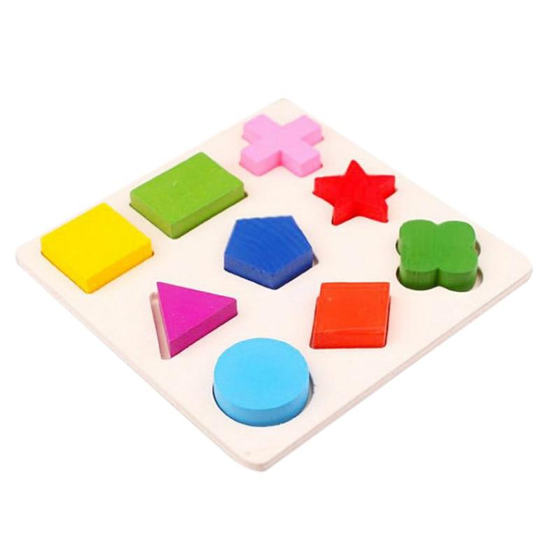 10 Piezas Rompecabezas De Madera 3d Rompecabezas Geométrico De Madera Para Niños Aprendizaje Temprano Juguetes Educativos Aprendizaje