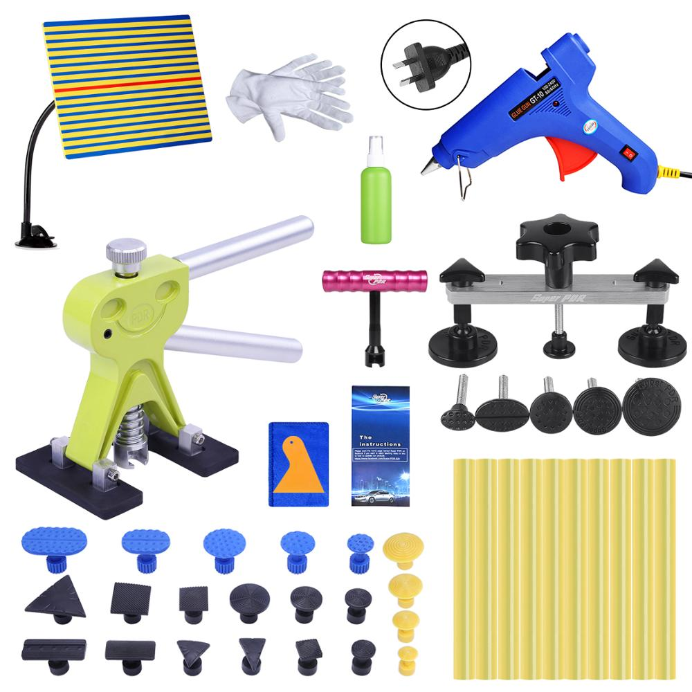 Super PDR AU Plug Hot Melt Glue Gun Paintless Dent Removal Kit Auto Dent Puller Suction Cup Line Board with Tool Bag Ferramentas super pdr tools dent removal kit for car dent puller suction cup glue sticks for hot melt glue gun line board pump wedge air bag