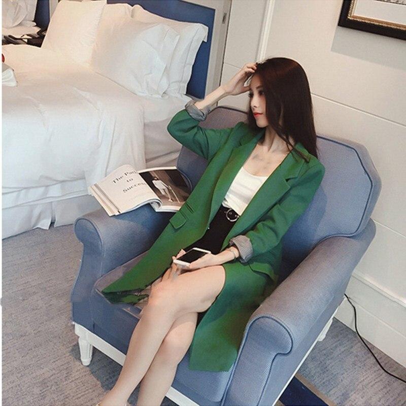 Plus Size 3Xl Gray/Green/Black Single One Button Blazer Casual Spring 2019 Slim Women Long Blazer Jacket