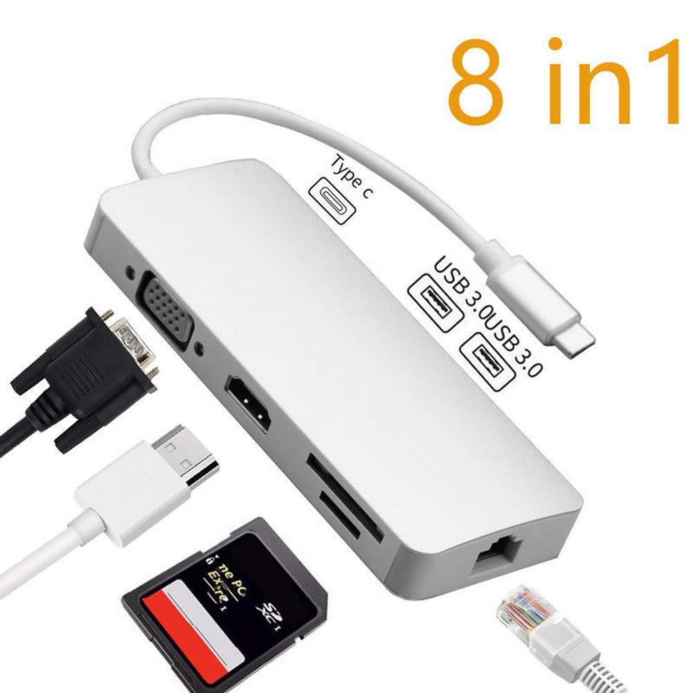 DSstyles 8 en 1 USB 3.0 Type C Hub SD TF lecteur de carte HDMI VGA RJ45 Ethernet adaptateur combiné pour PC ordinateur portable station d'accueil