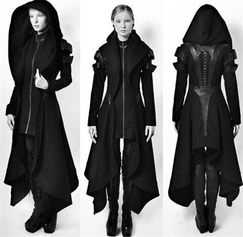 Spring Gothic   Trench   Vintage Fashion Women Overcoats Slim Plain Belt Girls Black Female Coats