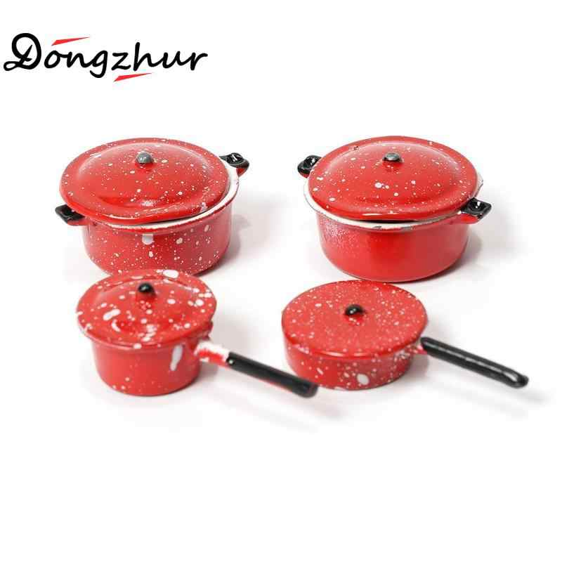 Dongzhur Dollhouse Miniature 1:12 DIY Doll House Kitchen Furniture Accessories White And Red Mini Pot With 4pcs Set Dropshipping