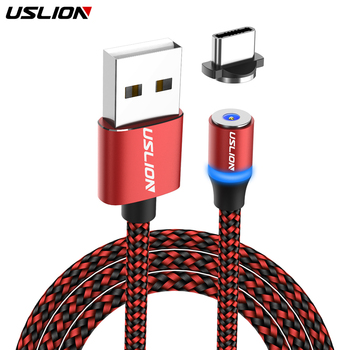 USLION Magnetic Cable LED Nylon Micro USB Type C Cable Charger For Iphone 7 X Samsung S10 Huawei Xiaomi USB-C Magnet Cord Type-C Mobile Phone Cables