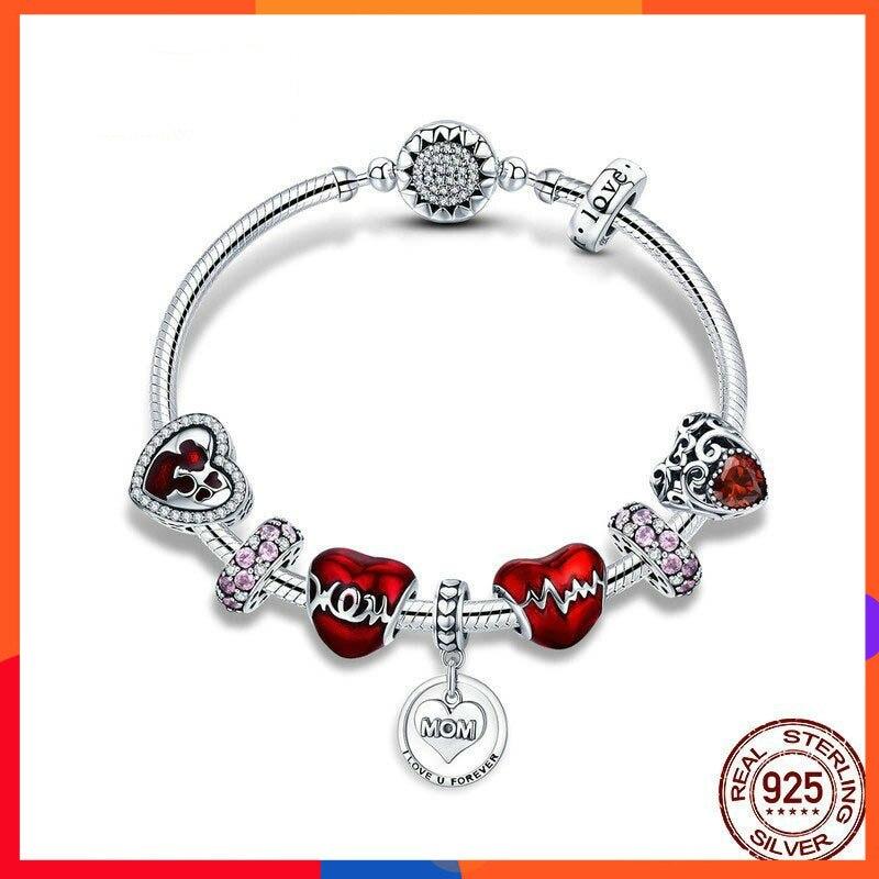 Bricolage Bracelet de charme Femme mode rouge fait à la main Bracelet de perles en argent 925 bijoux élégants S925 argent mère parcelle cadeau Bileklik