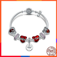 Diy Charm Bracelete Femme Fashion Red Handmade Beaded Bracelet Silver 925 Elegant Jewelry S925 Silver Mother Plot Gift Bileklik