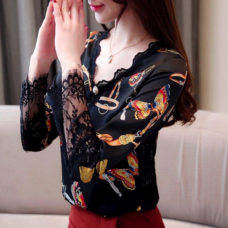 En Primavera Cuello Camisas Manga Delgado De 2019 Cadena Camisa Mariposa V Nueva Encaje Ad Patrón Blusa Completa Mujeres Con 630 Las 7wfC5qP5