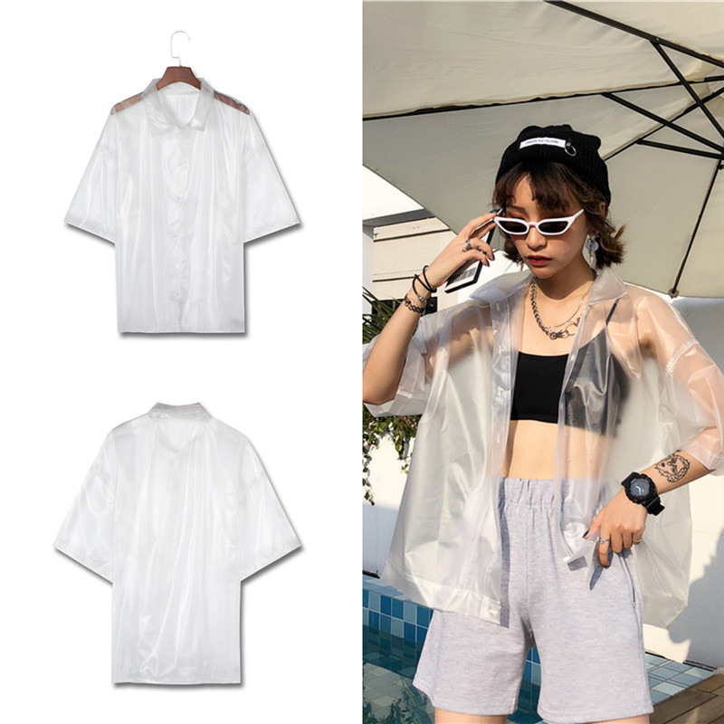 Transparent PVC Plastic   Blouse   Turn Down Collar Short Sleeve Women See Through   Blouses     Shirts   Spring Summer Casual Sweet Tee Top