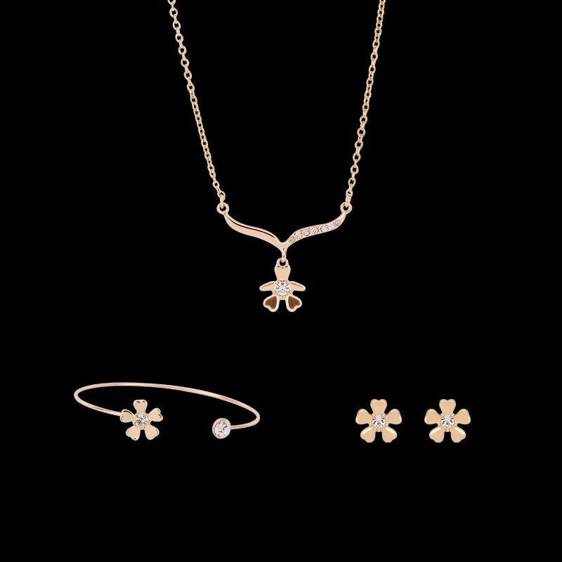 Women Jewelry Set Rhinestones Flower Decoration Pendant Alloy Necklace Earrings Bracelet Sets