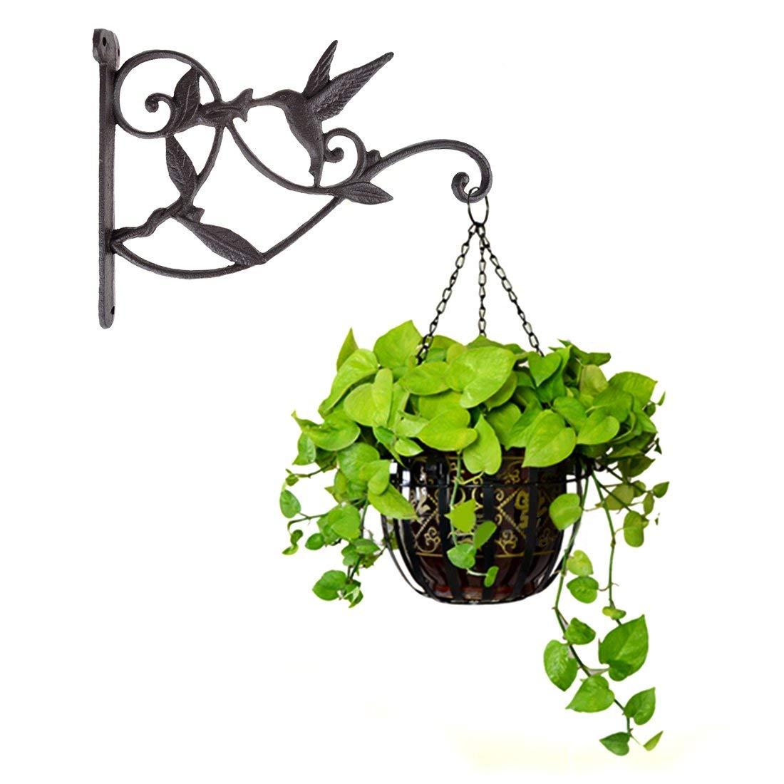 Gancho para plantas colgantes, cesta decorativa de hierro fundido colibrí, ganchos para colgar en la pared, colgador de soporte para plantas de interior y exterior Maceta para flor de autorriego, plantador de pared Vertical apilable, duradera para jardín, balcón GQ999