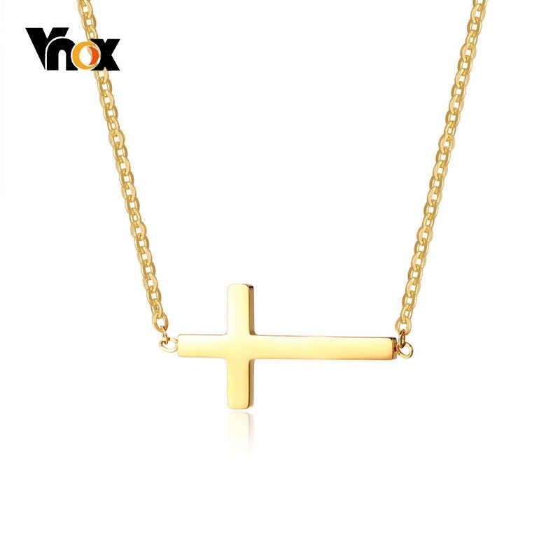 Vnox элегантный крест женщин колье ожерелье из нержавеющей стали регулируемая цепь Модные женские вечерние ювелирные изделия подарок