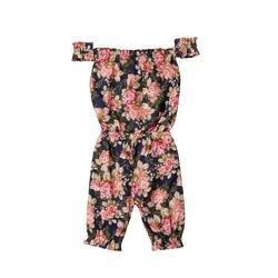 Летние детские комбинезоны для маленьких девочек, модные комбинезоны принцессы с цветочным принтом и открытыми плечами для малышей
