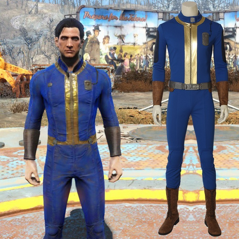 PC Game Fallout 76 Cosplay Nate Costume Halloween Costumes for Men Adult Sole Survivor Suit Jumpsuit Superhero Outfit With Boots