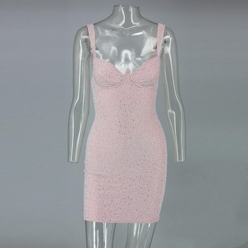 Nuit Robes Cami 2019 Joyfunear De Manches Fête V Sexy Retour Clubwear Femmes Cou Moulante Sans Robe Tenue Courtes Zipper Chic Cristal Rose Pour wqOIOdR