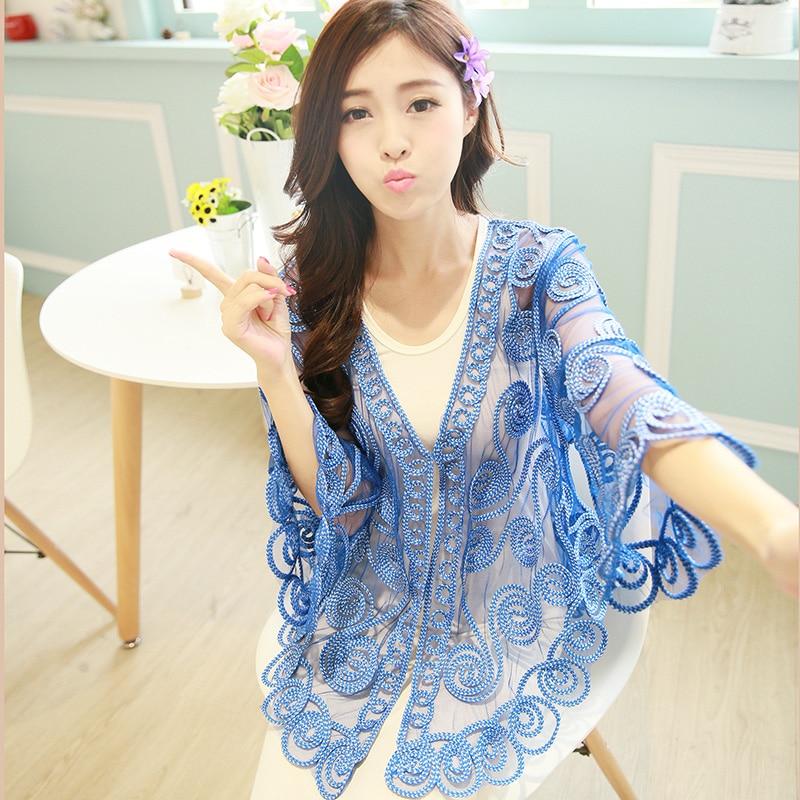 Women Summer Cardigan Thin 2019 Korean Casual V-Neck Crochet Lace Blouse Cropped Flower Plus Size See-Through Kimono Cardigan