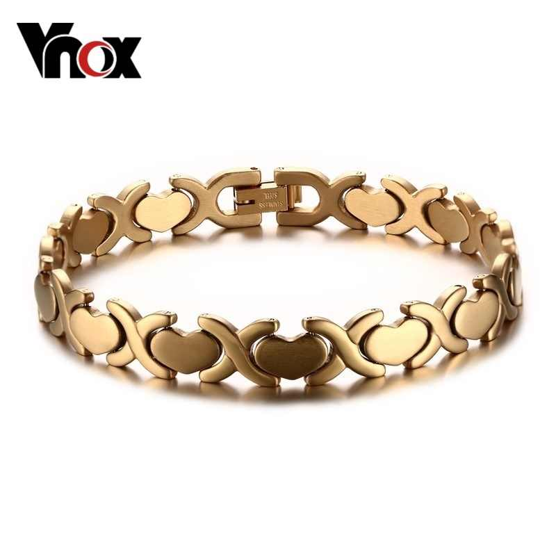 Vnox Women's Bracelet Stainless Steel Heart Party Jewelry Adjustable Size Silver/Gold-color