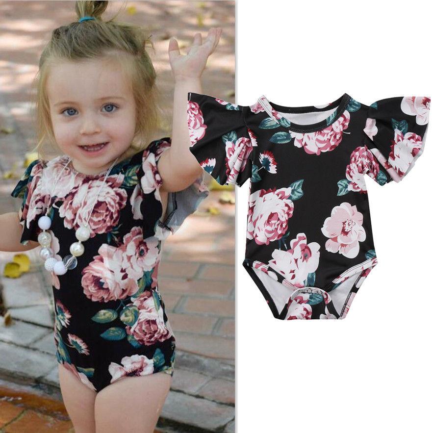 Pudcoco Girl Jumpsuits 0-24M Newborn Infant Baby Girl Clothes Floral Flower   Romper   Jumpsuit Sunsuit Outfits