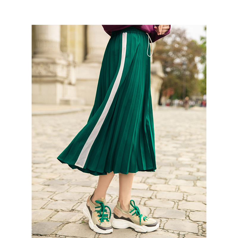 INMAN Spring Autumn High Waist Slim Literary Retro Casual All-match Women A-line Pleated Long Skirt