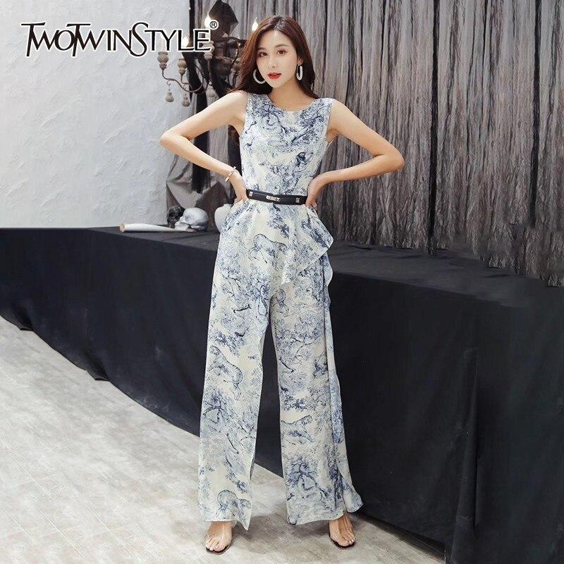 TWOTWINSTYLE Sleeveless Print Women   Jumpsuits   Off Shoulder High Waist Asymmetrical Ruffles Wide Leg Pants Female 2019 Spring