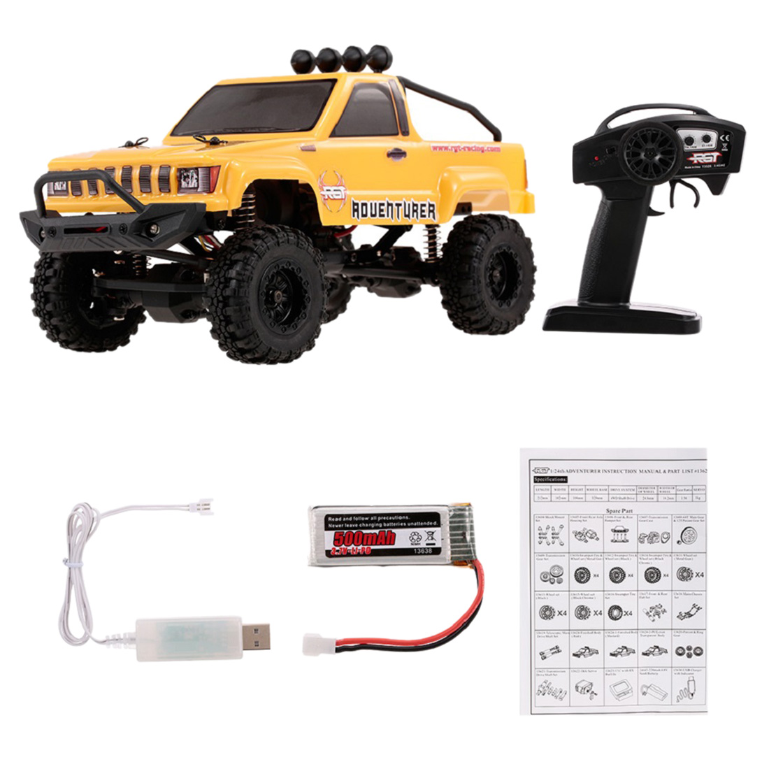RGT 1:24 2.4G 4WD 15 km/h Simulation RC Off-road Véhicule RC Escalade De Voiture RTR Version-Jaune