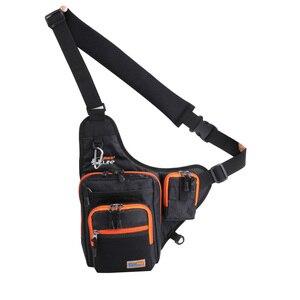 Image 3 - iLure Waterproof Canvas Fishing Bag Multi Purpose Outdoor Bag Reel Lure Bags Pesca Fishing Tackle Bag Green/Orange/Black