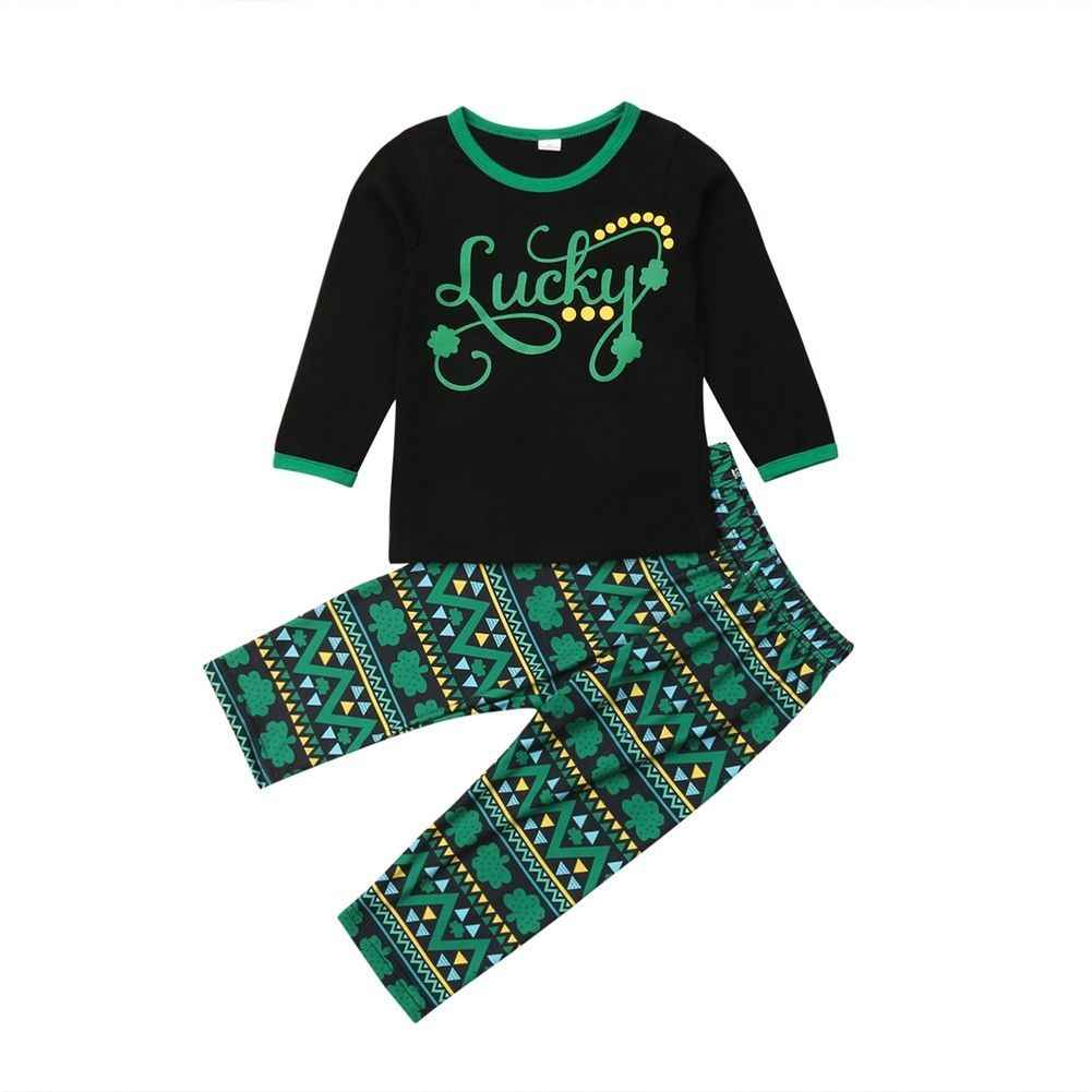 d2848b062 St. Patrick Day 2PCS Kids Baby Girl Clothes Set Casual Long Sleeve Lucky T-