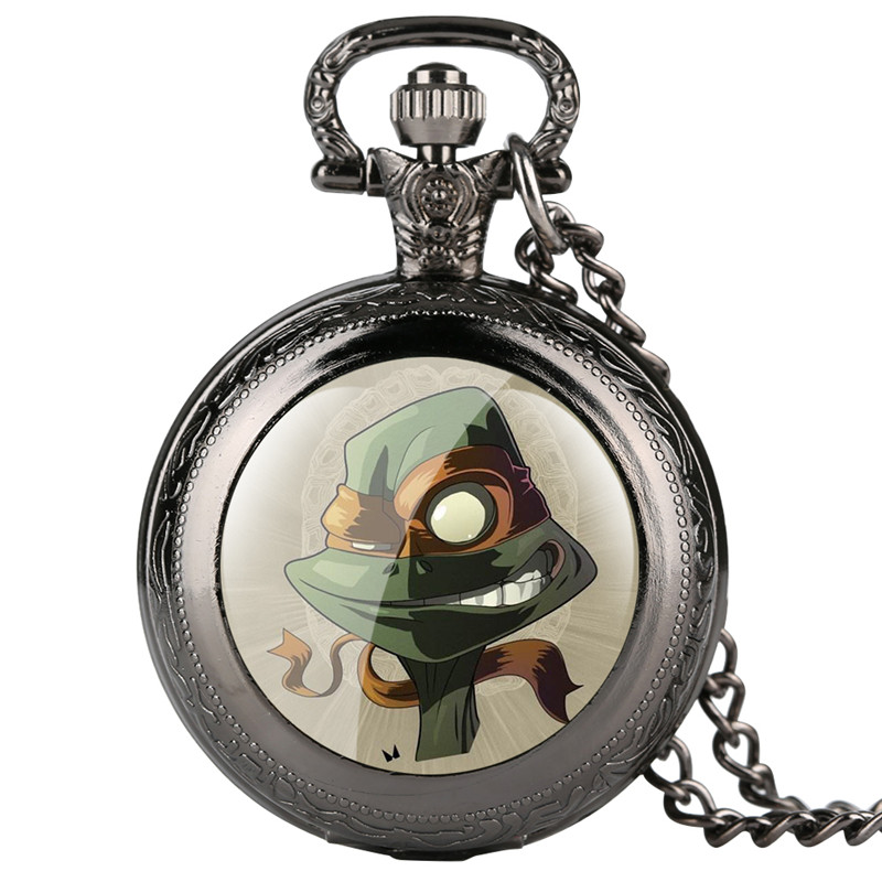Personalized Men's Pocket Watch Unique Cartoon Pattern Quartz Pocket Watches For Kids Creative Retro Pocket Watch Necklace