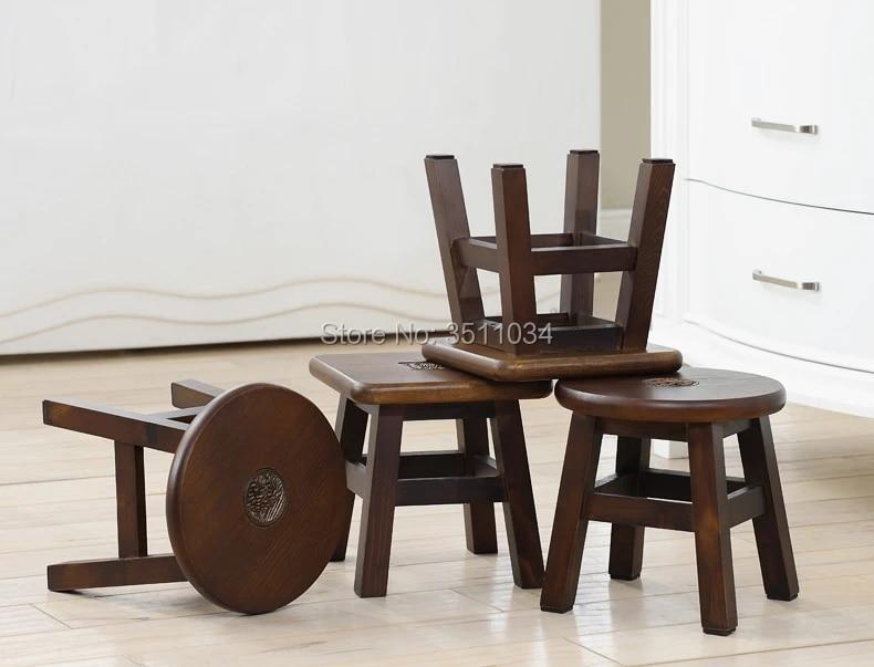 tabouret rond antique japonais en bois massif petit meuble traditionnel asiatique pour salon portable design bas