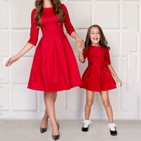 2019 Mommy and Daughter Dresses Family Clothes Elegant Mum and Daughter Party Dresses Bowknot Red Blue Family Matching Outfits