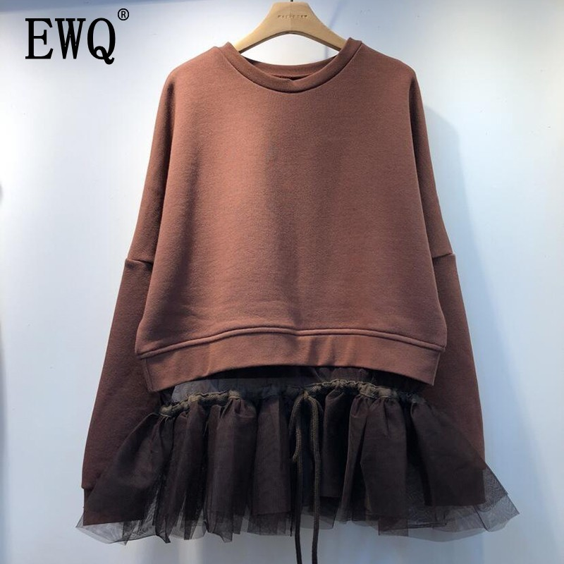 [EWQ] 2020 Spring New Women Round Collar Long Sleeve Lace Splice Loose Hem Female Sweet Cotton Pullovers Fashion Tide OE276