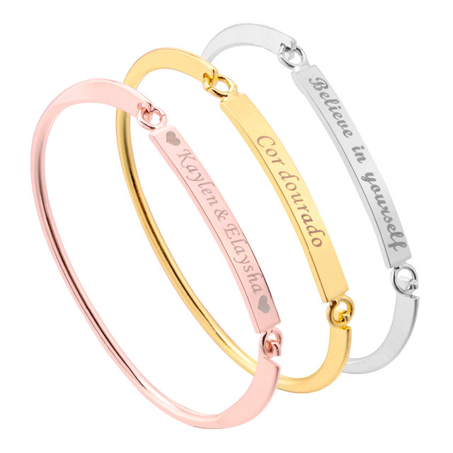 Personalized Gold Bar Womens Bracelet Custom Engraved Name Ladies Bracelets Bang