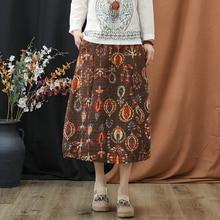 Women Print Skirt Empire Waist Mid-Calf Length A-Line Linen 2019 Vintage Casual Spring