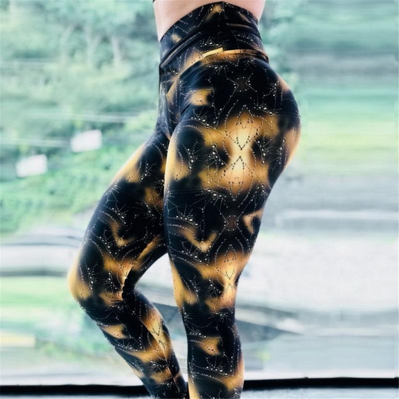 Fitness Leggings Stitching Hosen Druck Yoga Sport Hüfte Schlank Setzen Wasser Tropfen Schwarz Druck Weibliche k189120