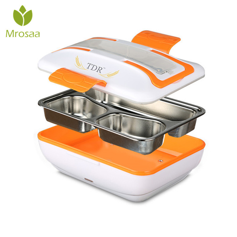 Mrosaa 1PC 220V Portable Electric Heating Lunch Box Container Stainless Steel Food Meal Warmer For Office Home Travel Car