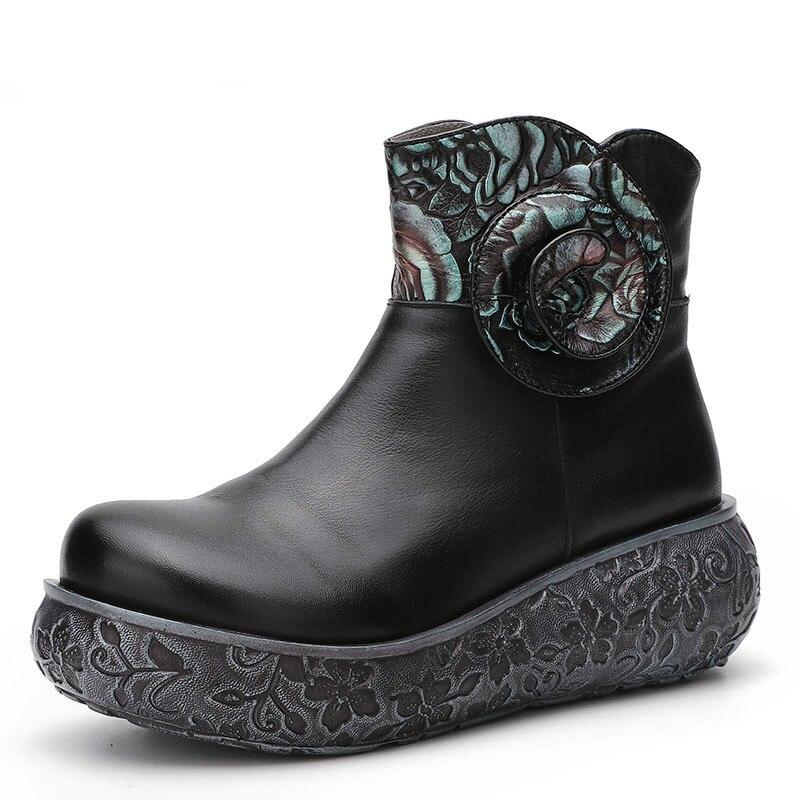 Verano De Tacones Cuero Cuña Mujeres Botas Genuino Alta Zapatos Rodilla Tobillo Primavera Boinas Las Negro Negros Cm Ez1qA