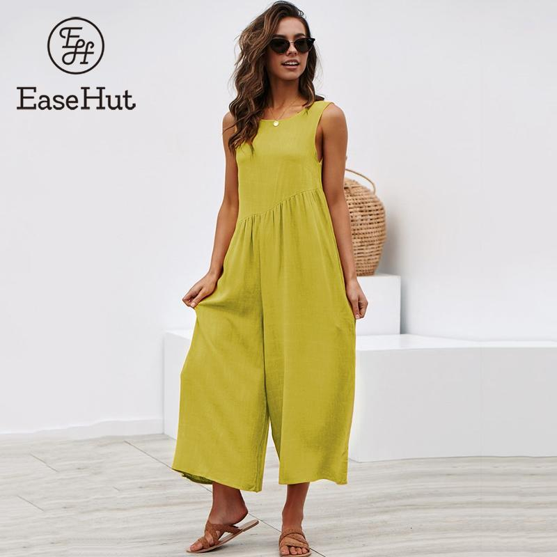 EaseHut New Casual   Jumpsuit   Sleeveless Cutout Back O-Neck Solid Loose Wide Leg Pants Vintage Ruched Playsuit Rompers Beachwear