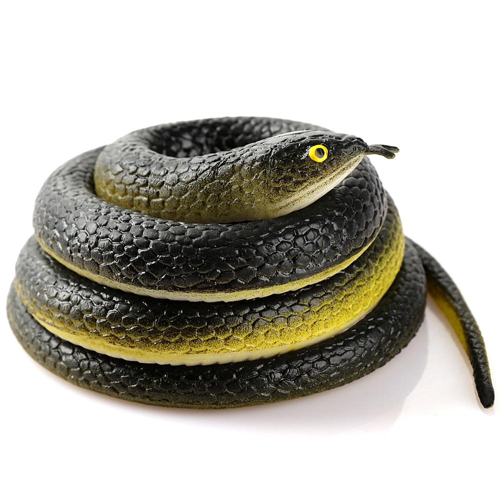 80cm Novelty And Gag Playing Jokes Toy Reative Gift Realistic Soft Rubber Toy Snake Safari Garden Props Joke Prank Gift J75