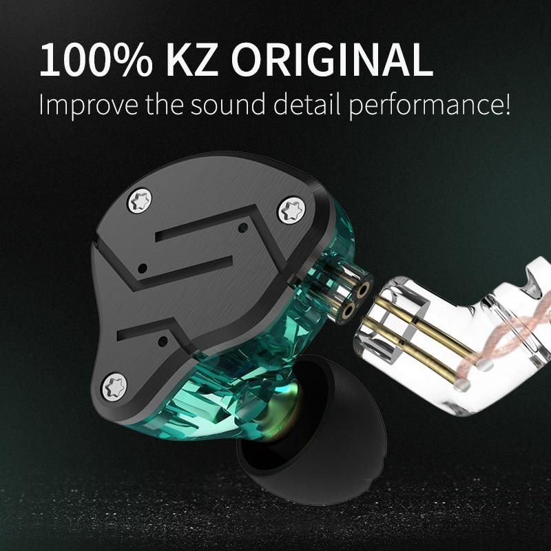 KZ ZSN Metal Ear Earphones Hybrid Technology 1BA+1DD HIFI Bass Earbuds In Ear Monitor Gaming Headset Sport Noise Headphones