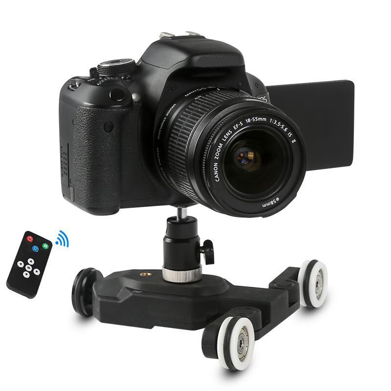 BEESCLOVER 3-Wheels Wirelesss Video Camera Auto Dolly Track Slider Dolly Car Track Rail for DSLR Cameras Camcorders iPhone r25 image