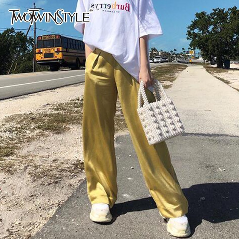 TWOTWINSTYLE Casual Satin Trousers For Women Solid High Waist Black   Wide     Leg     Pants   Female Spring 2019 Korean Fashion New