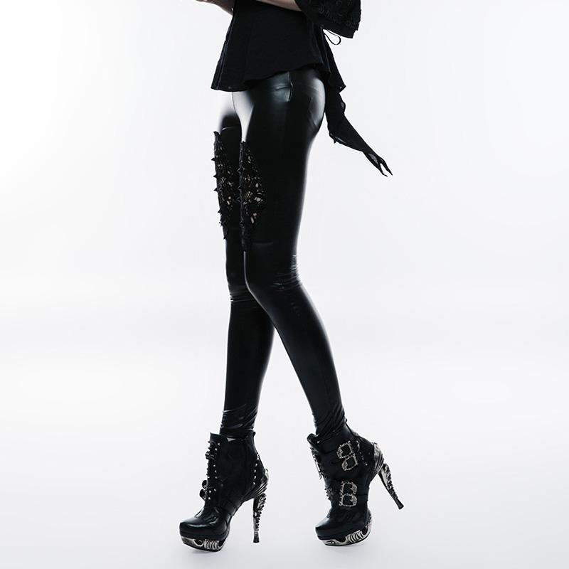 Punk Rave femmes gothique fleur Crochet Faux cuir Leggings K-309 - 2