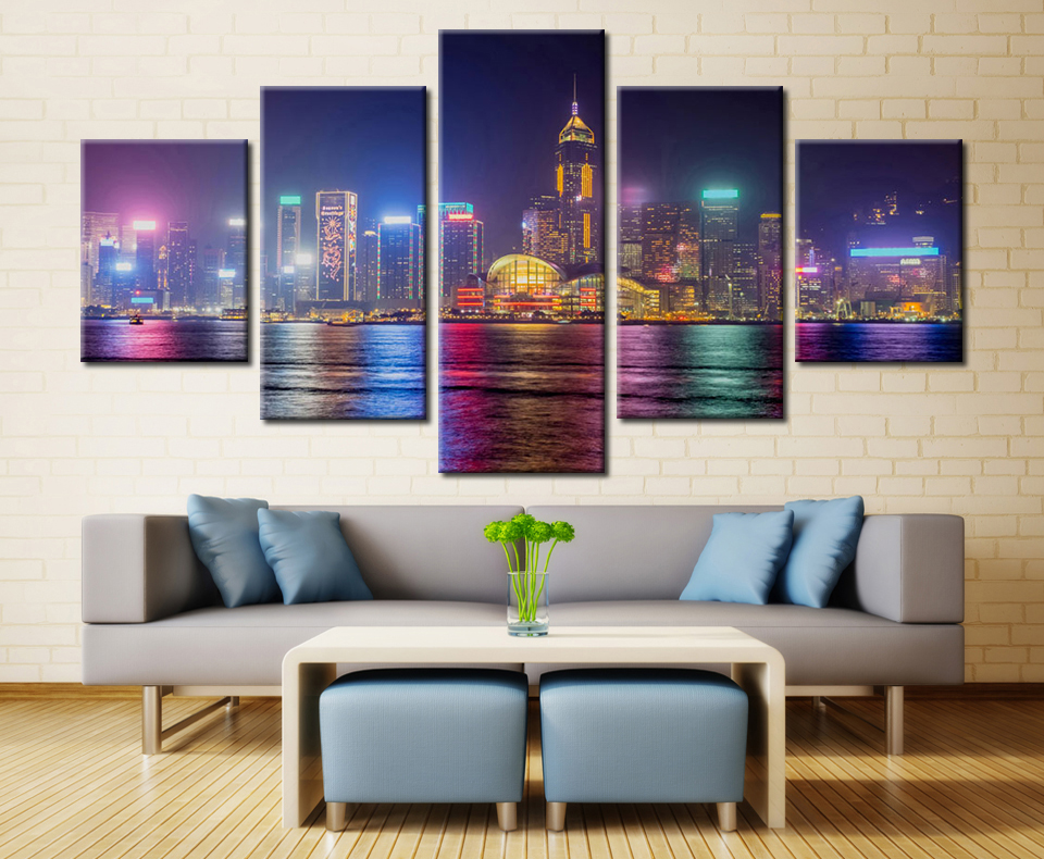 Abstract Canvas Painting Wall Art Oil Poster Wall Picture 5 Panel Center Apartments Dallas Cityscape For Living Room Home Decor in Painting Calligraphy from Home Garden