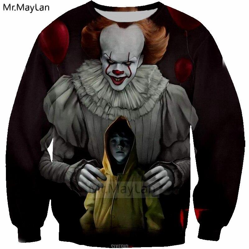 2018 New Design 3D Print Movie IT Sweatshirts Unisex Men women Hip Hop Streetwear Hoody Boy Outwear Casual Clothes Custom Hoodie in Hoodies amp Sweatshirts from Men 39 s Clothing