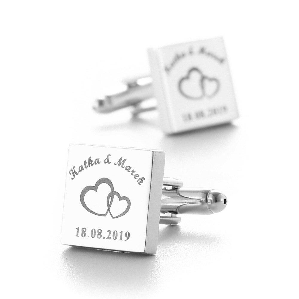 Personalizado para hombre camisa Gemelos plata cuadrado personalizado Gemelos regalos de boda para novio, láser logotipo grabado Gemelos joyería