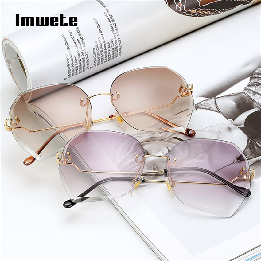 f15bf7057a195 Imwete Rosa Gradiente Óculos Sem Aro Óculos De Sol Das Mulheres de Grandes  Dimensões de Corte De Diamante Óculos de Sol Feminino Óculos Sem Armação  UV400