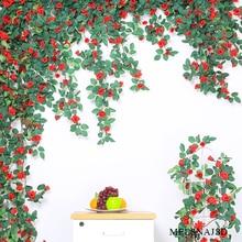 Melsnajsd 260CM Silk Roses Ivy Vine with Green Leaves For Home Wedding Decoration Fake leaf Hanging Garland Artificial Flowers
